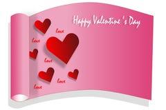 Rotes Herz auf rosa Kartenhintergrund und -wort Stockbild
