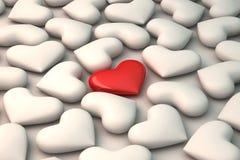 rotes Herz 3d auf weißem Herzhintergrund Lizenzfreies Stockbild