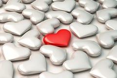 rotes Herz 3d auf weißem Herzhintergrund Lizenzfreies Stockfoto