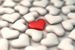 rotes Herz 3d auf weißem Herzhintergrund Lizenzfreie Stockbilder