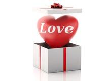 rotes Herz 3d in einer Geschenkbox Roter heart-shaped Schmucksachegeschenkkasten und eine rote Spule auf einem Zeichen Stockfotografie