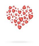 Rotes Herz, das aus Herzballonen besteht Stockfotos