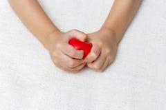 Rotes Herz in den Babypalmenhänden Lizenzfreie Stockbilder