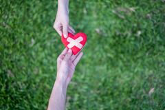 Rotes Herz in den Händen der Frau und die zwei Hände der Männer werden wiederhergestellt Es bedeutet Handreichungen in die schwie stockbilder