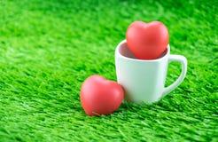 Rotes Herz in der Kaffeetasse auf Gras, Liebeskonzept Stockfotos