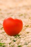 Rotes Herz in der Liebe des Valentinstags mit weißem Steinhintergrund Lizenzfreie Stockfotografie