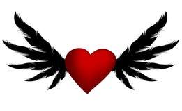 Rotes Herz des Vektors mit Flügeln Stockbilder