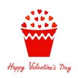 Rotes Herz eingestellt in Eimer Geschenkgegenstand Blumentopf auf dem Hintergrund Flaches Design der glücklichen Valentinsgrußtag Stockfotos