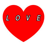 Rotes Herz für den Tag der Frauen mit einem Fülleschwarzweg der Aufschrift weißen stockfotografie