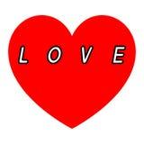 Rotes Herz für den Tag der Frauen mit einer weißen Fülle des Aufschriftschwarz-Weges lizenzfreie abbildung