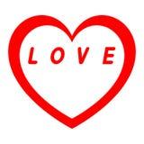Rotes Herz für den Tag der Frauen mit rotem Weg und Weiß füllt eine rote Aufschrift stockfotografie