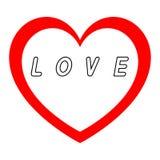 Rotes Herz für den Tag der Frauen mit rotem Weg und Weiß füllt eine schwarze Wegaufschrift lizenzfreie abbildung