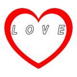 Rotes Herz für den Tag der Frauen mit rotem Weg und Weiß füllt eine schwarze Wegunterzeichnung stockfotografie