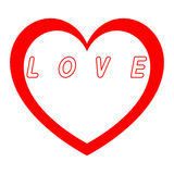 Rotes Herz für den Tag der Frauen mit rotem Weg und Weiß füllt einen roten Wegtitel vektor abbildung