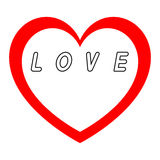 Rotes Herz für den Tag der Frauen mit rotem Weg und Weiß füllt einen schwarzen Wegtitel stock abbildung