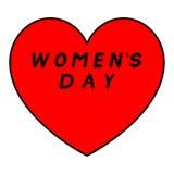 Rotes Herz für den Tag der Frauen mit schwarzem Weg und einer schwarzen Fülleunterzeichnung stockbilder