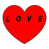 Rotes Herz für den Tag der Frauen mit schwarzem Weg und schwärzen ein insription stock abbildung