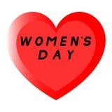 Rotes Herz für den Tag der Frauen mit Weg zwei und einem schwarzen Fülletitel lizenzfreies stockbild