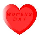 Rotes Herz für den Tag der Frauen mit Weg zwei und einer roten Fülleaufschrift stockfotos