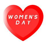 Rotes Herz für den Tag der Frauen mit Weg zwei und einer weißen Fülleaufschrift stockbild