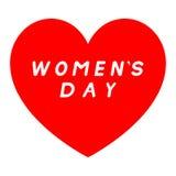 Rotes Herz für den Tag der Frauen mit weißer Fülleunterzeichnung stock abbildung
