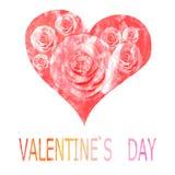 Rotes Herz gemalt im Aquarell für Valentinsgruß ` s Tag Stockfotografie