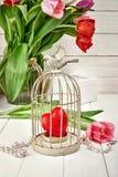 Rotes Herz im Eisenkäfig mit Frühling Lizenzfreie Stockfotos