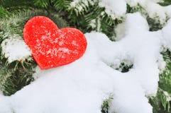 Rotes Herz im Schnee auf Baum Stockfotografie