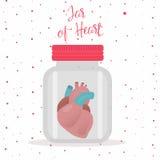 Rotes Herz innerhalb des Glasgefäßes Vektorabbildung auf weißem Hintergrund Stockbild