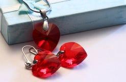 Rotes Herz jewwlry Swarovski-Kristall Stockfotografie