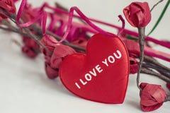 Rotes Herz mit der Wortliebe Sie stockfotografie
