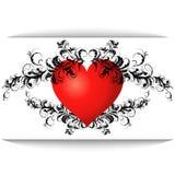 Rotes Herz mit einem Muster Stockfotografie