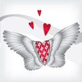 Rotes Herz mit Flügeln Stockbild