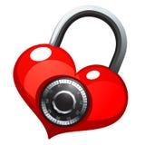 Rotes Herz mit glänzendes Metallrundem Kombinationsschloß Lizenzfreies Stockfoto