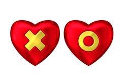 Rotes Herz mit Goldkreuz und -kreis Stockbild