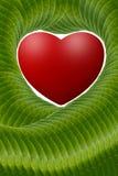 Rotes Herz mit grünen Blättern der Kunst Lizenzfreies Stockbild