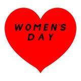Rotes Herz mit scharfem Tipp für den Tag der Frauen mit schwarzem Weg und einem schwarzen Fülletitel stockbild