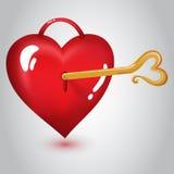 Rotes Herz mit Schlüssel Stockfotos