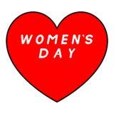Rotes Herz mit schwarzem Weg für den Tag der Frauen mit weißer Fülleunterzeichnung lizenzfreie abbildung