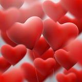 Rotes Herz steigt fliegendes Bündel im Ballon auf ENV 10 Stockfotografie