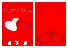 Rotes Herz und weißes Herz auf rotem Hintergrund Stockfoto