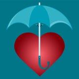 Rotes Herz unter dem Regenschirm vektor abbildung