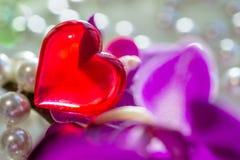 Rotes Herz unter den Perlen und den Orchideen Stockfotografie