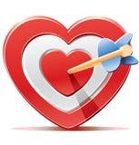 Rotes Herzzielziel mit Pfeil Stockfotos