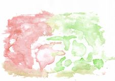 Rotes hochrotes und grünes Lindgrün mischte abstrakten Aquarellhintergrund Es ` s nützlich für Grußkarten, Valentinsgrüße Stockfotografie