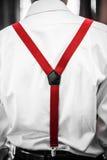 Rotes Hosenträger-Detail lizenzfreies stockbild