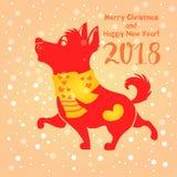 Rotes Hundeschattenbild auf hellem schneebedecktem Hintergrund Symbol des Chinesen Lizenzfreies Stockbild