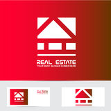Rotes Immobilienlogo des Hauses Stockfotos