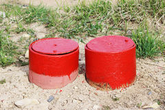 Rotes industrielles Lukentür-Blickloch Lizenzfreies Stockbild