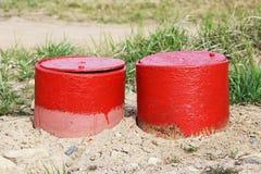 Rotes industrielles Lukentür-Blickloch Stockbild